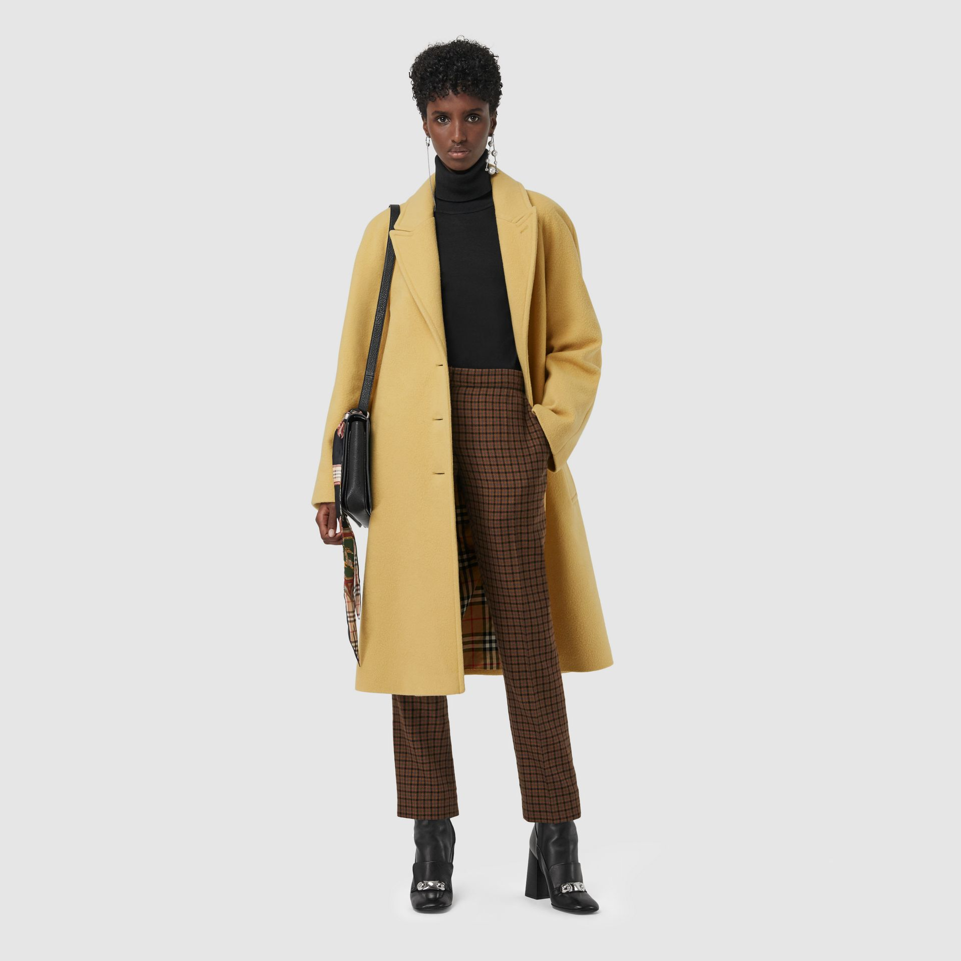Wool Blend Tailored Coat in Camomile - Women | Burberry - gallery image 0