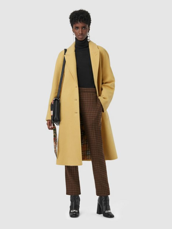 Wool Blend Tailored Coat in Camomile