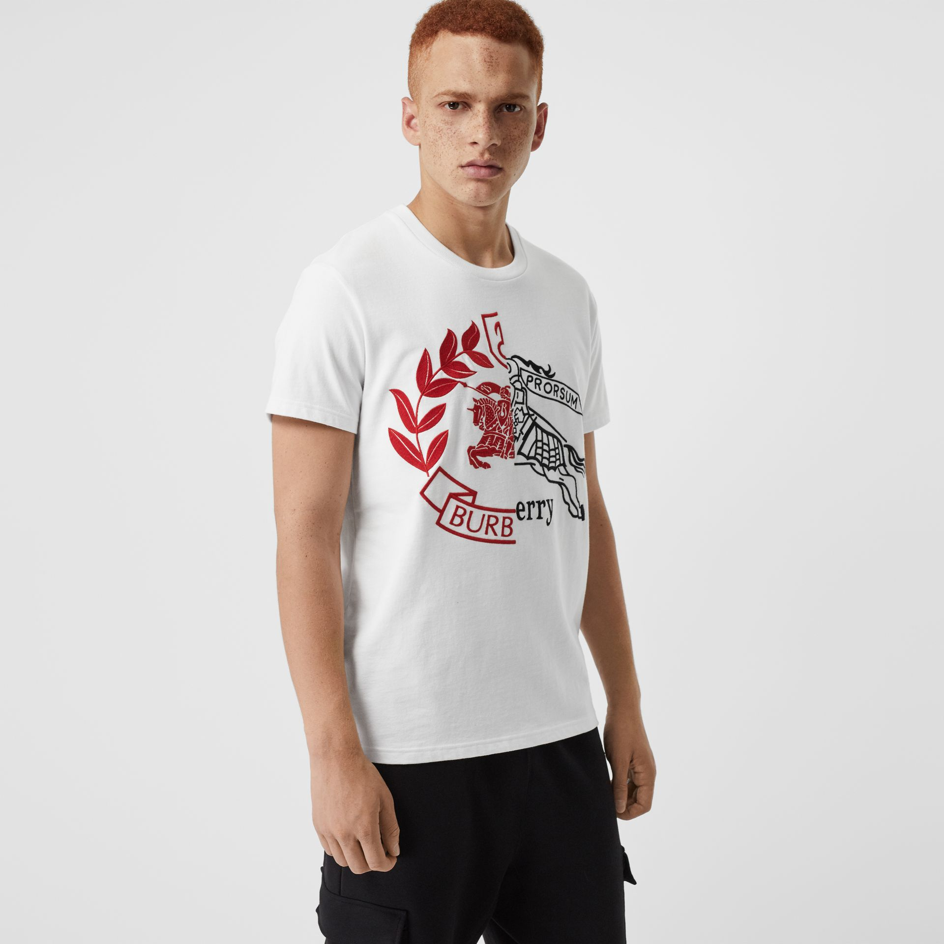 Contrast Crest Cotton T-shirt in White - Men | Burberry - gallery image 0