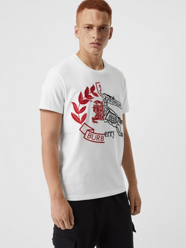 Contrast Crest Cotton T-shirt in White