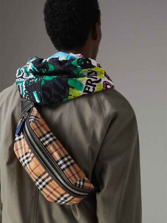 Medium Vintage Check Bum Bag in Canvas Blue | Burberry - cell image 3