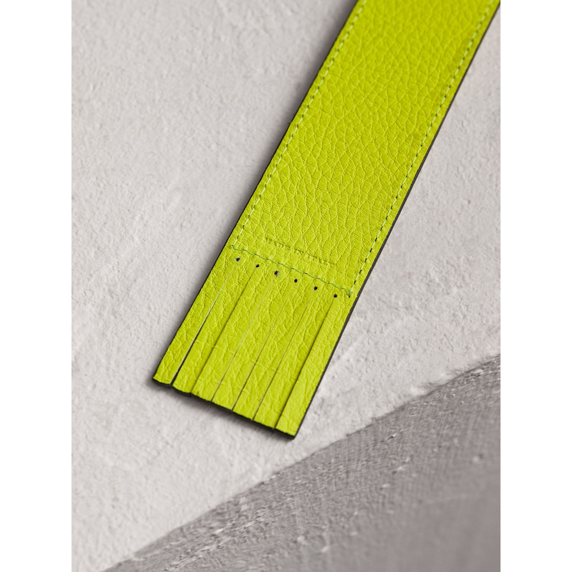 Embossed Leather Bookmark in Bright Yellow | Burberry - gallery image 2
