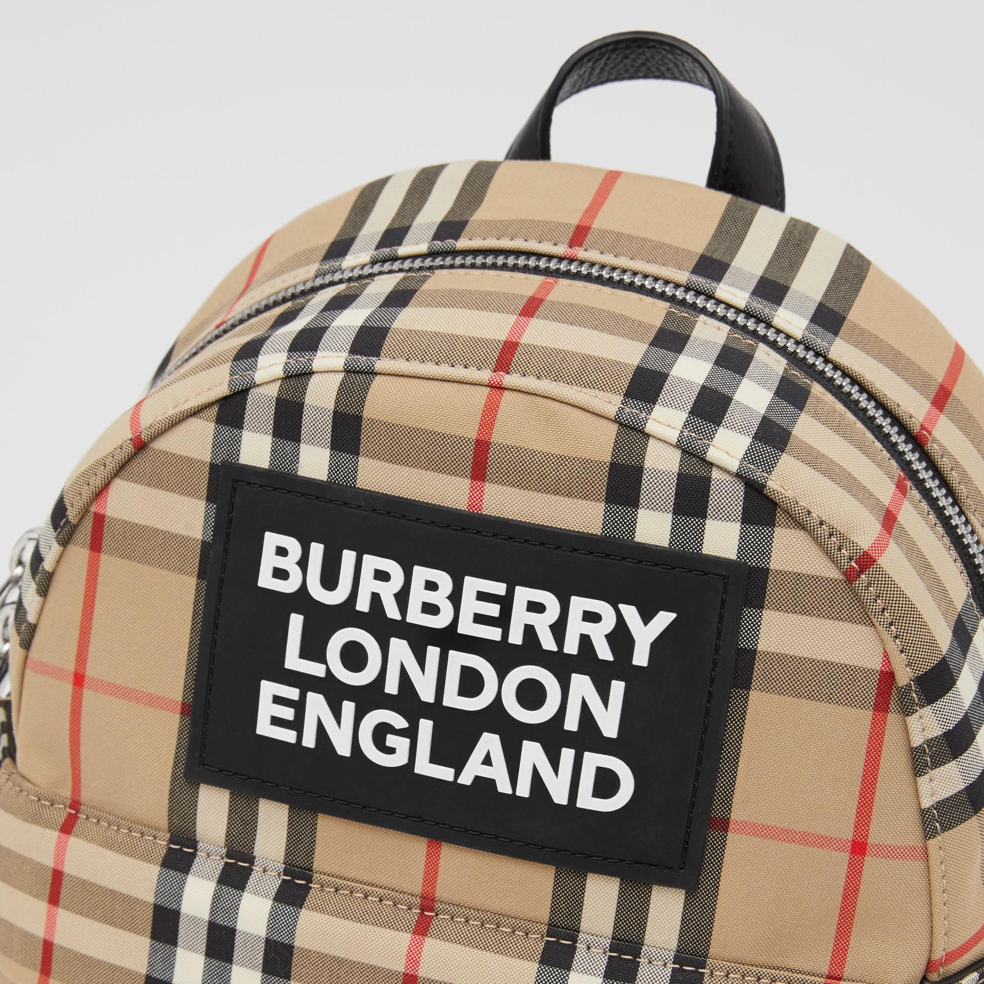 Logo Appliqué Vintage Check Backpack in Archive Beige - Children | Burberry United Kingdom - gallery image 1