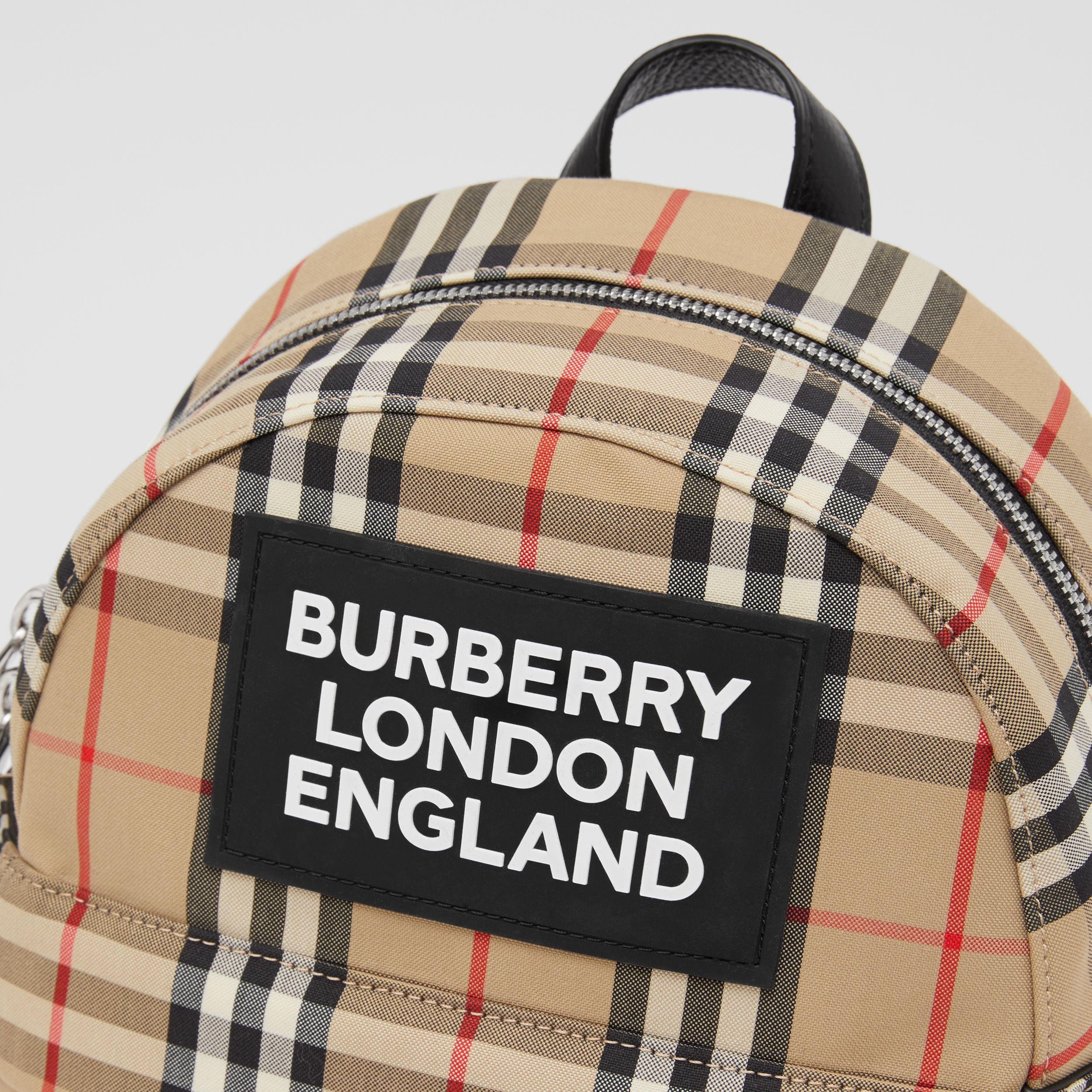 Logo Appliqué Vintage Check Backpack in Archive Beige - Children | Burberry - 2