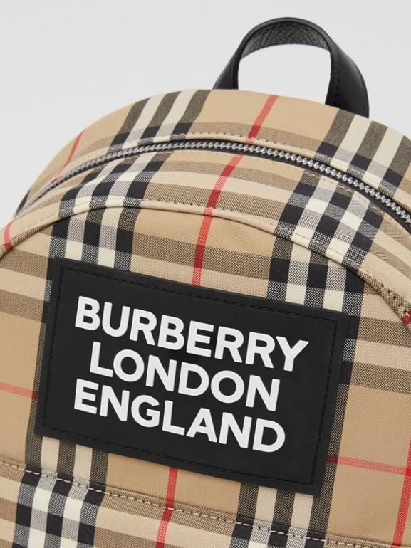 Logo Appliqué Vintage Check Backpack in Archive Beige - Children | Burberry United Kingdom - cell image 1