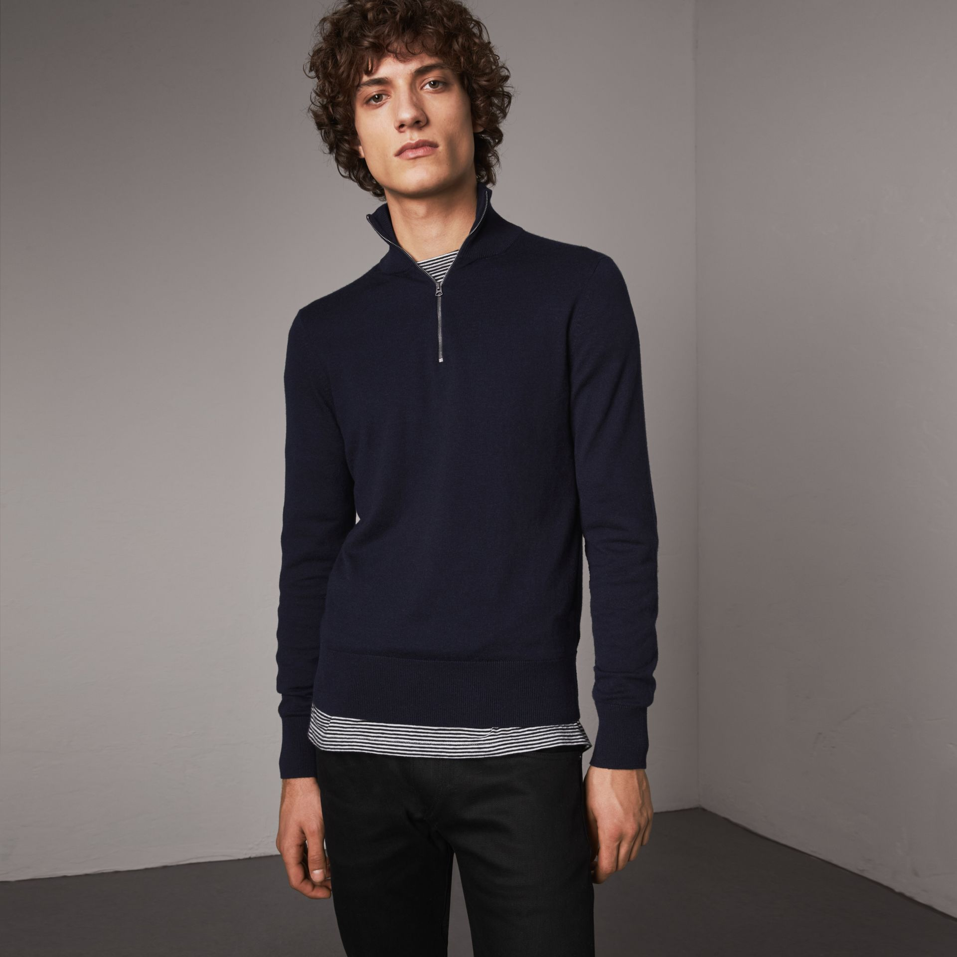 Zip-neck Cashmere Cotton Sweater in Navy - Men | Burberry - gallery image 0