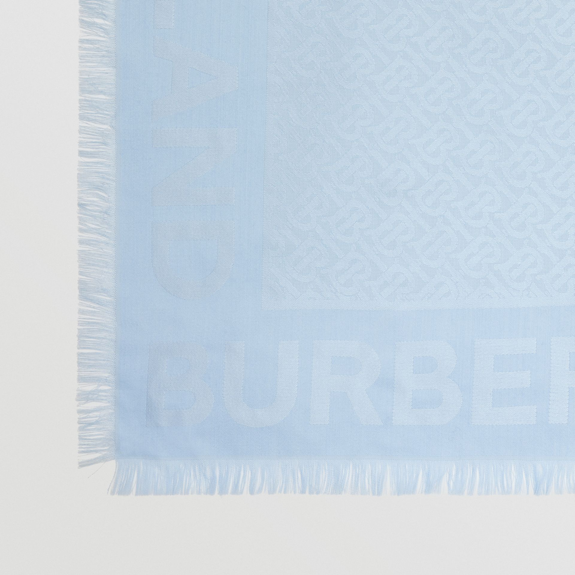 Monogram Silk Wool Jacquard Large Square Scarf in Pale Blue | Burberry Hong Kong S.A.R - gallery image 1