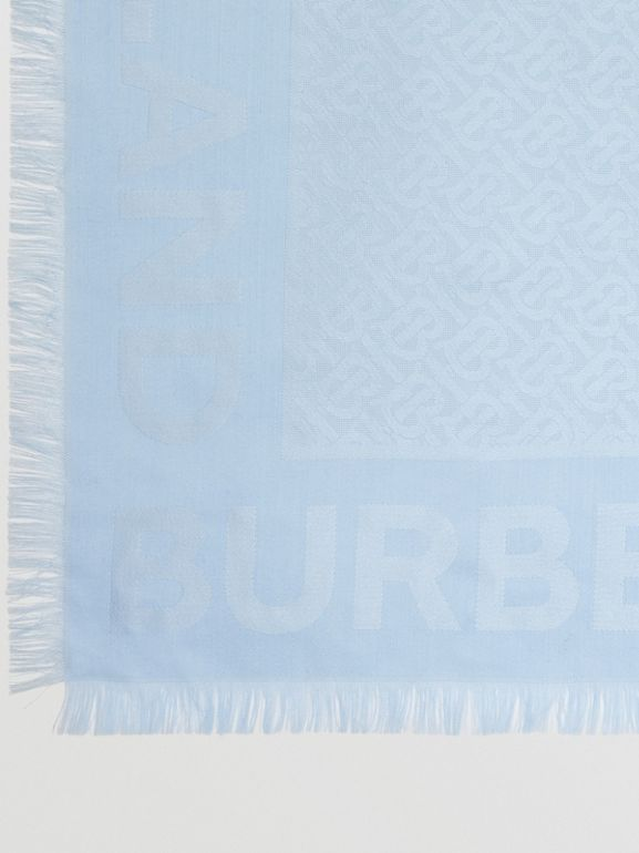 Monogram Silk Wool Jacquard Large Square Scarf in Pale Blue | Burberry Hong Kong S.A.R - cell image 1
