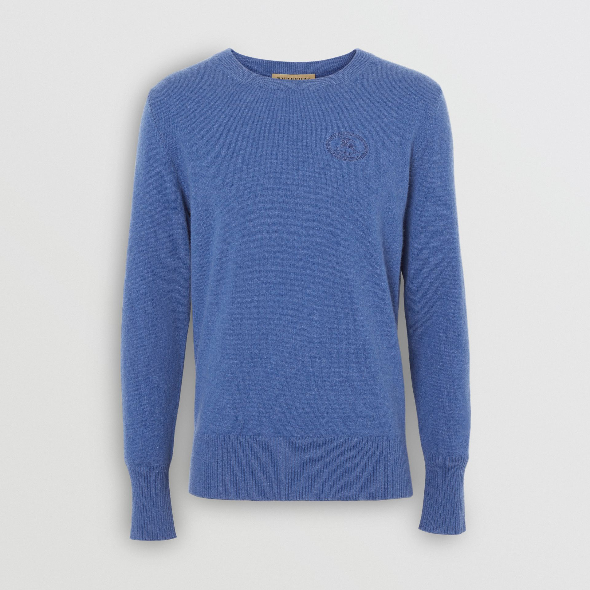 Embroidered Logo Cashmere Sweater in Dusty Blue - Men | Burberry - gallery image 3