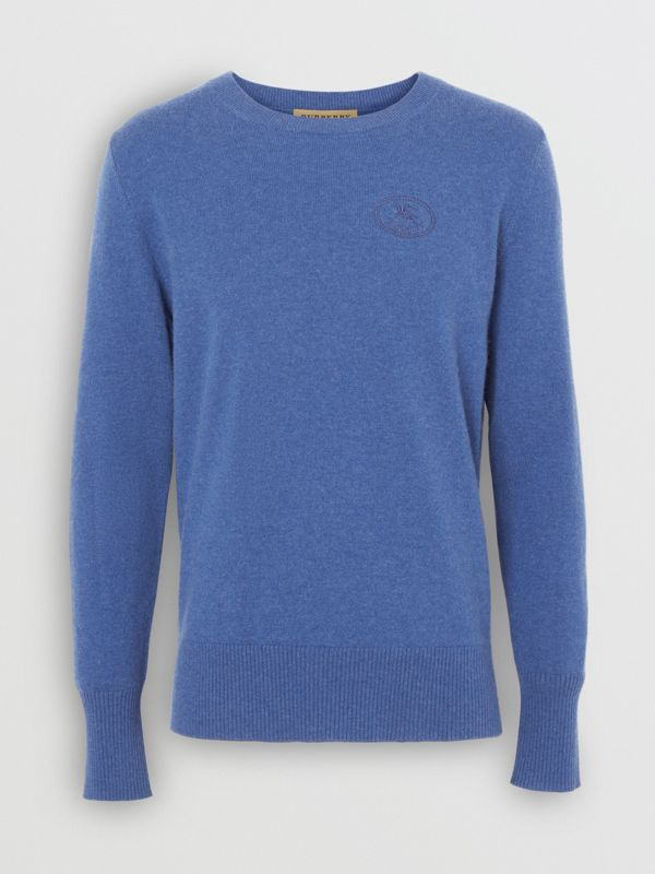 Embroidered Logo Cashmere Sweater in Dusty Blue - Men | Burberry - cell image 3