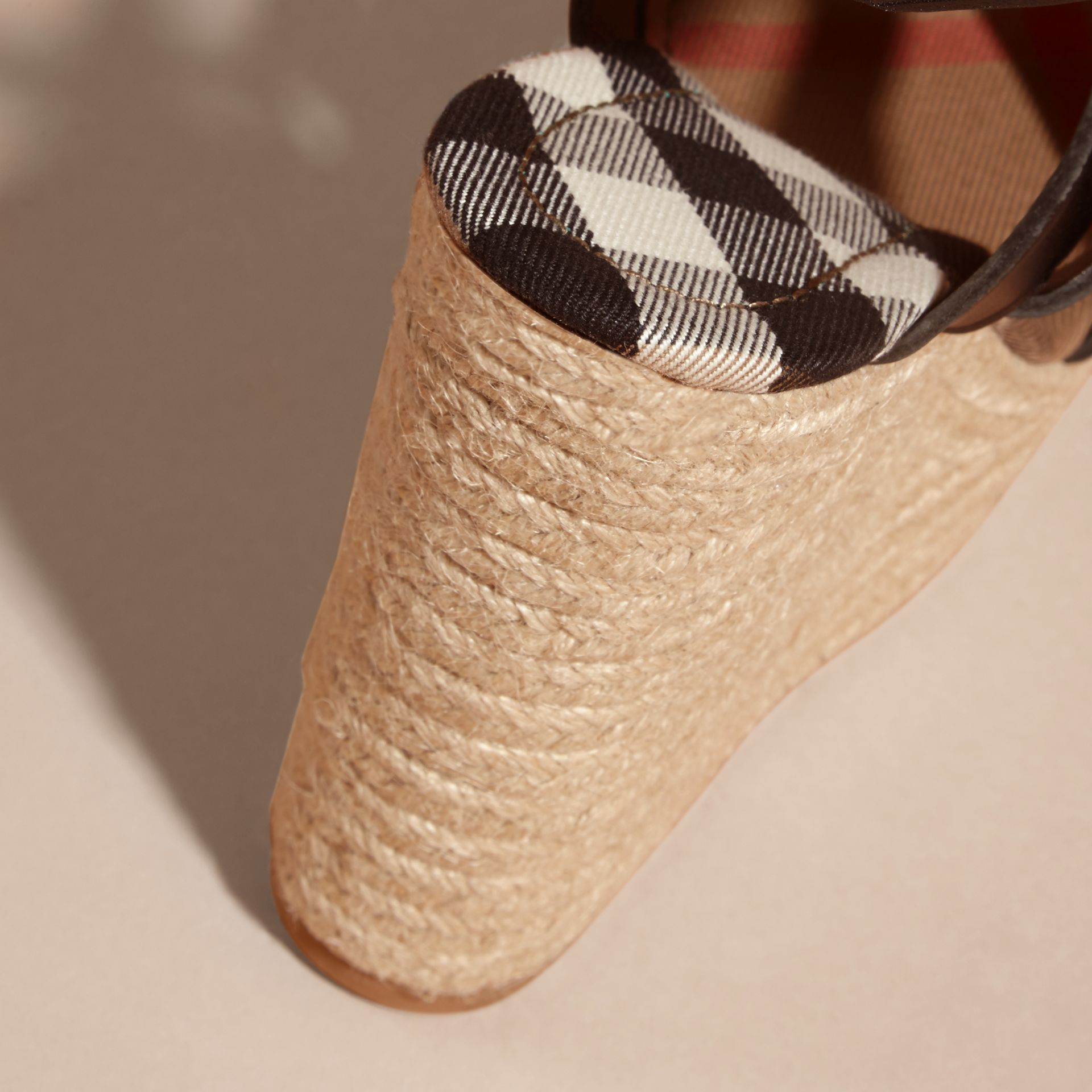 Leather Platform Espadrille Wedge Sandals - Women | Burberry - gallery image 2