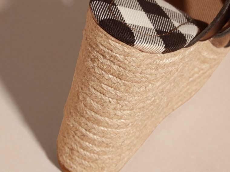Leather Platform Espadrille Wedge Sandals in Black - Women | Burberry - cell image 1