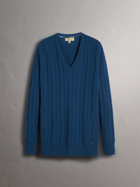 Cable and Rib Knit Cashmere V-neck Sweater in Bright Navy - Men | Burberry Canada - cell image 3