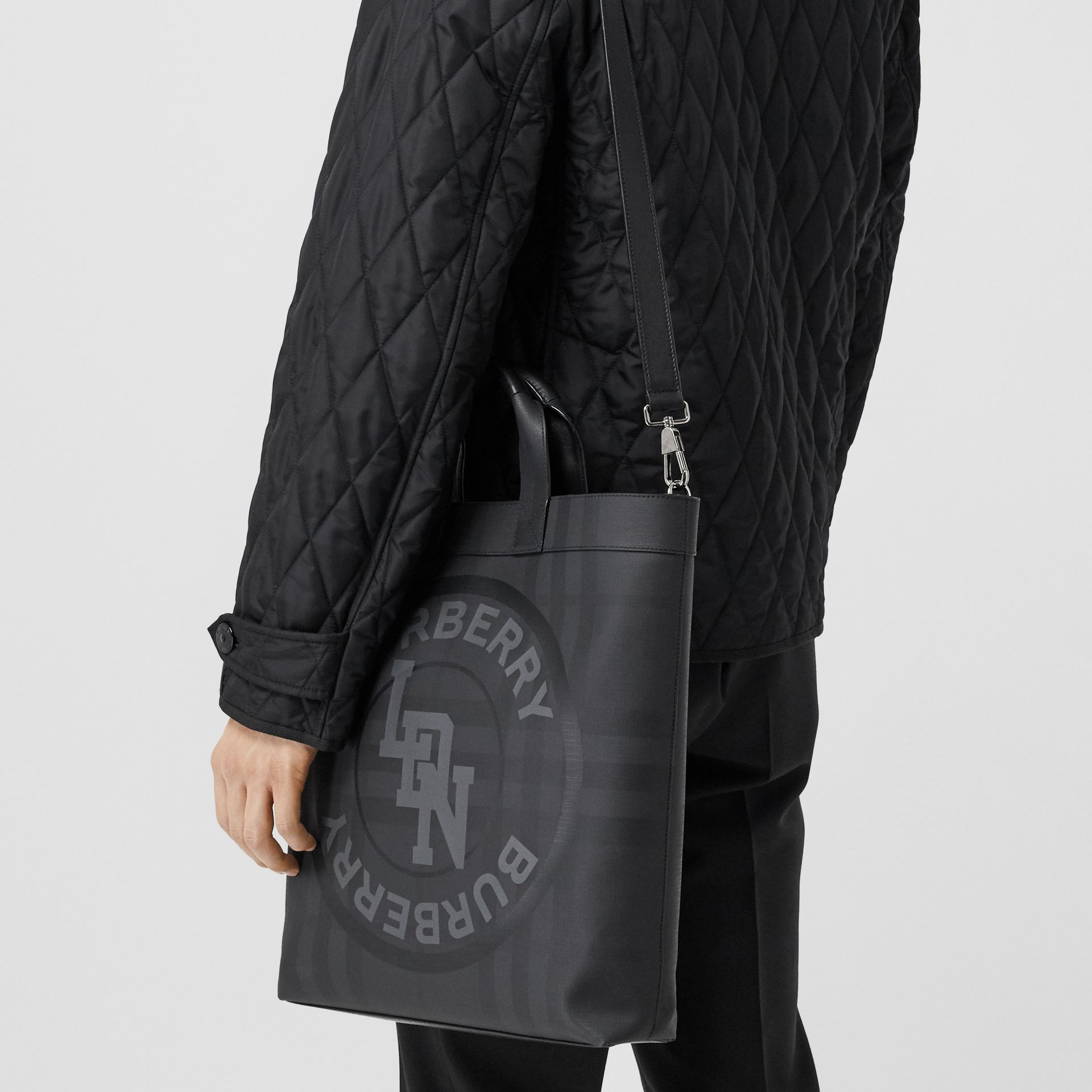 Logo Graphic London Check Tote in Dark Charcoal - Men | Burberry - gallery image 10