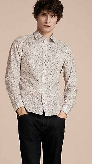 Painterly Spot Print Cotton Shirt