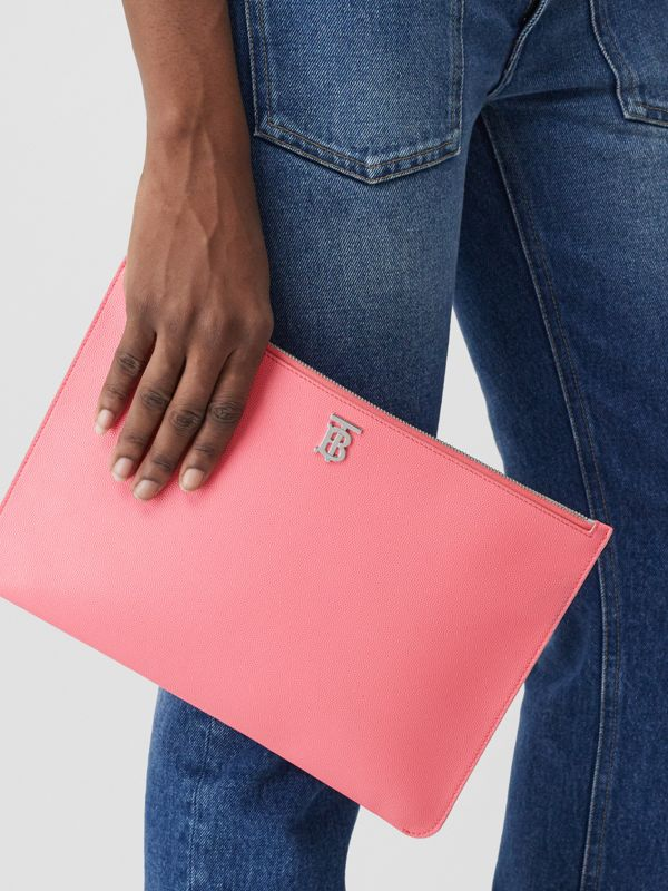 Monogram Motif Grainy Leather Pouch in Candy Floss | Burberry - cell image 2