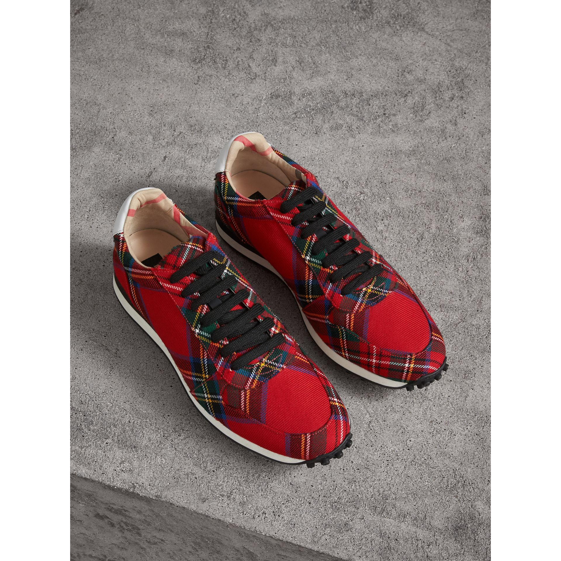 Tartan Wool Trainers in Red - Men | Burberry - gallery image 0