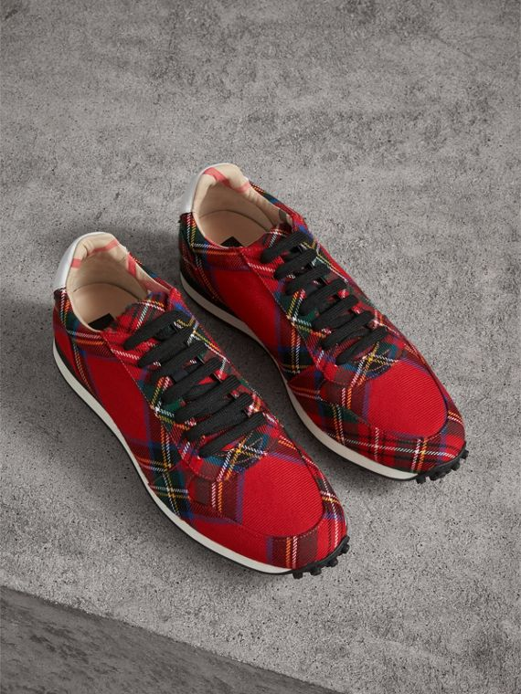 Tartan Wool Sneakers in Red