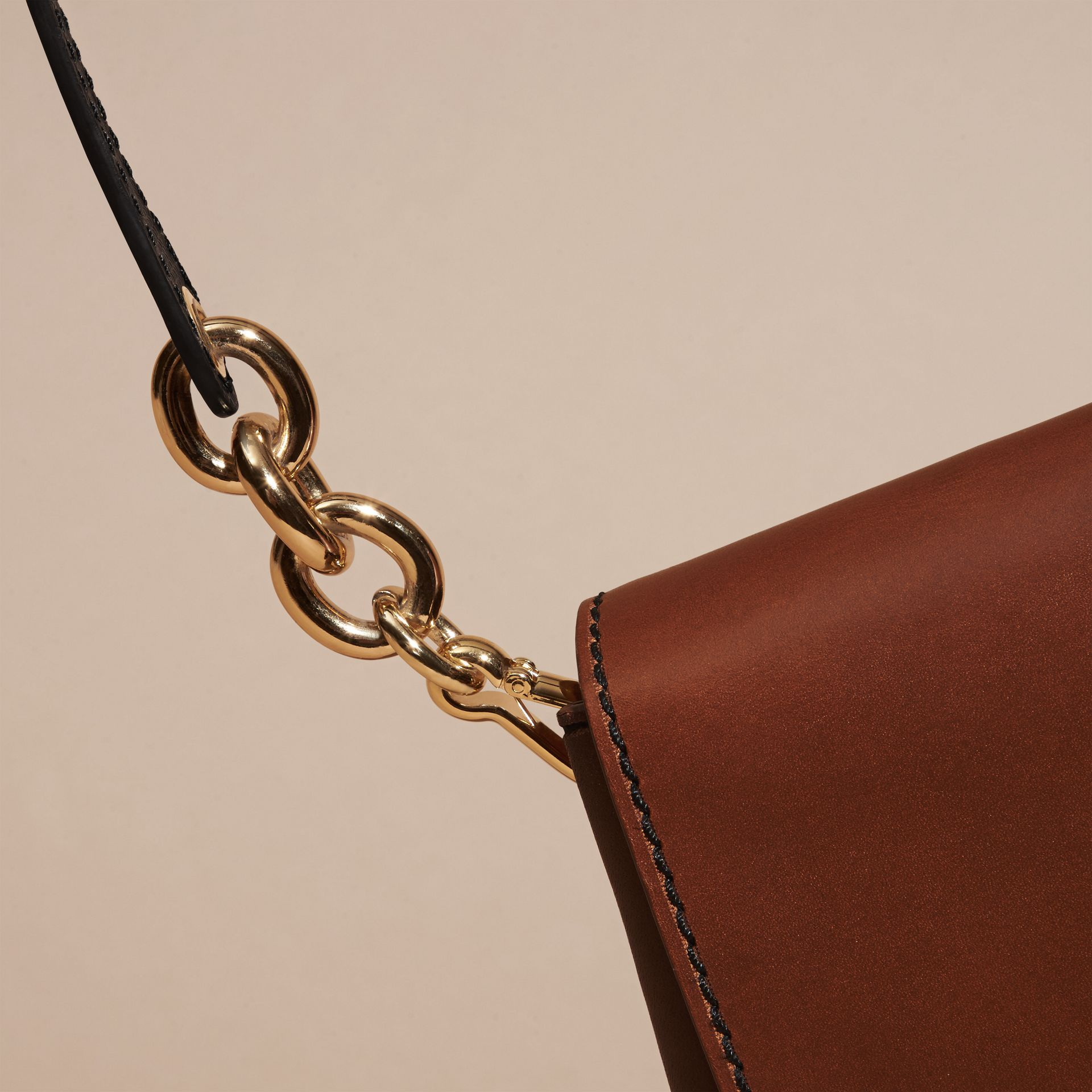 Tan The Buckle Satchel in Smooth Leather - gallery image 6