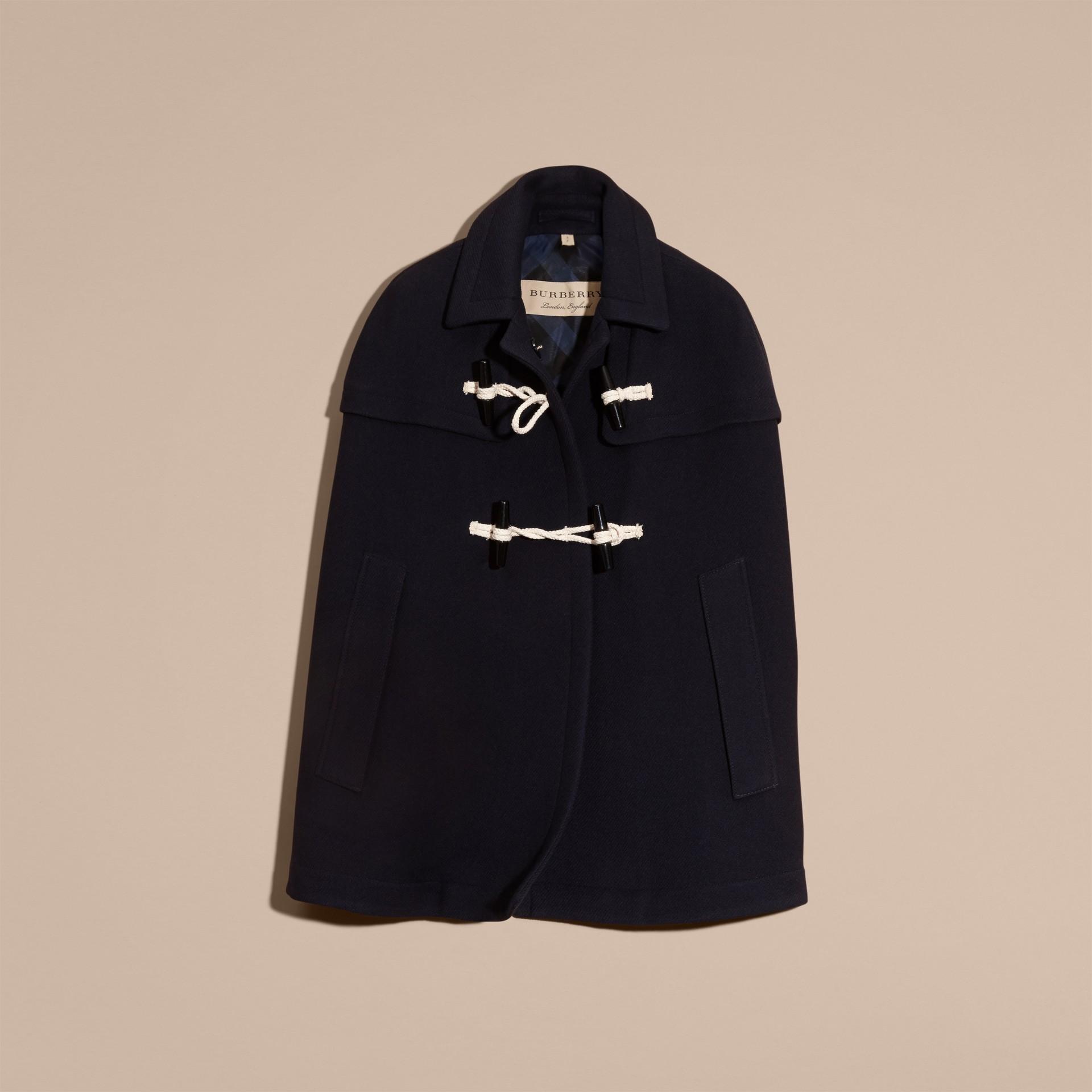 Marine Cape style duffle-coat en laine et cachemire Marine - photo de la galerie 4