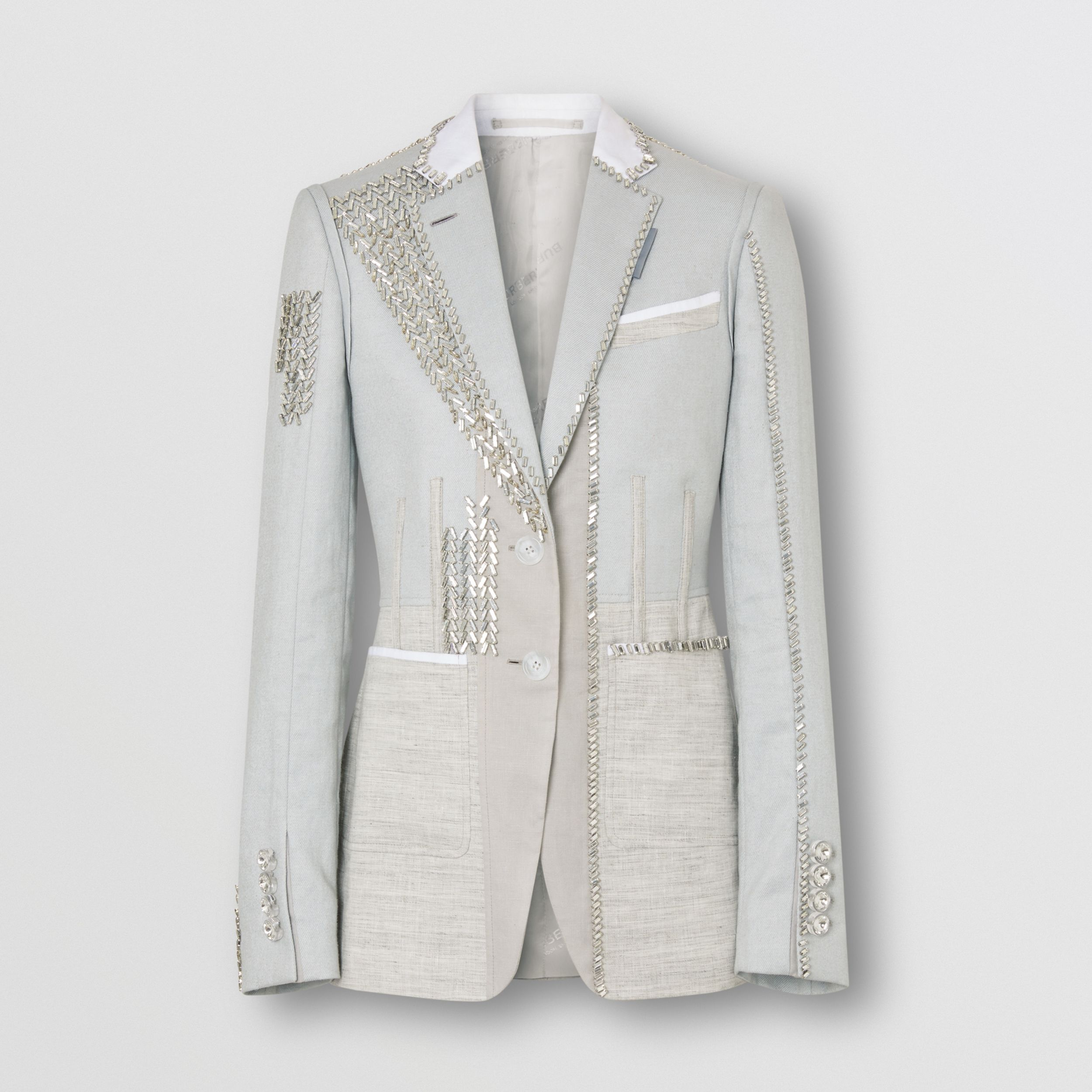 Crystal Embroidered Technical Linen Blazer in Grey Melange - Women | Burberry - 4