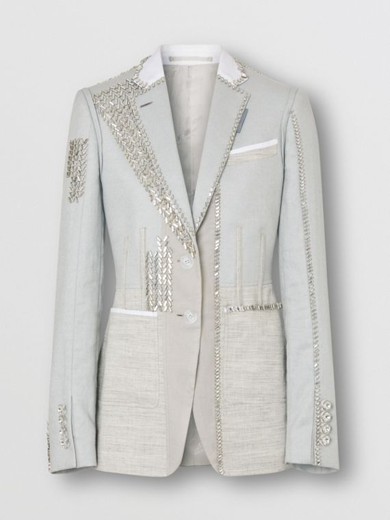 Crystal Embroidered Technical Linen Blazer in Grey Melange
