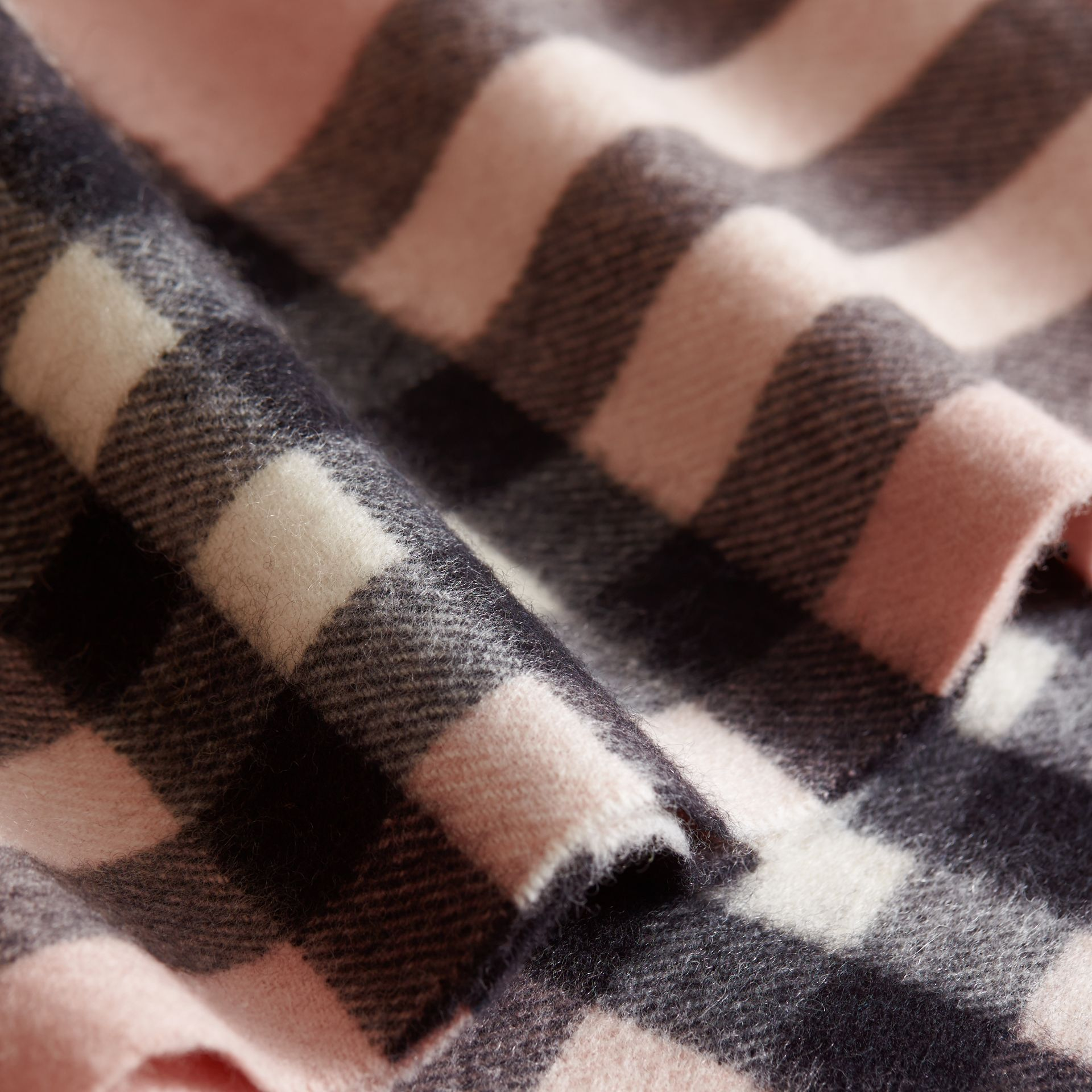 Exploded Check Cashmere Snood Rose - gallery image 2