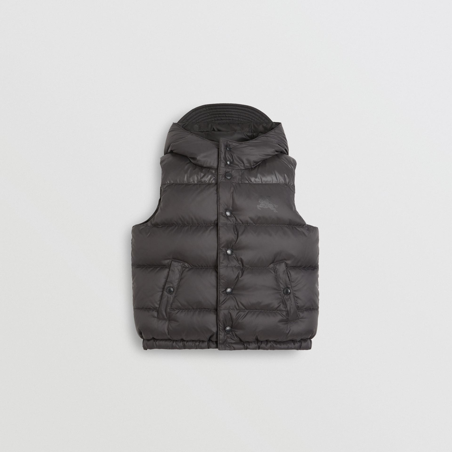 Reversible Showerproof Down-filled Hooded Gilet in Dark Grey | Burberry United States - gallery image 0