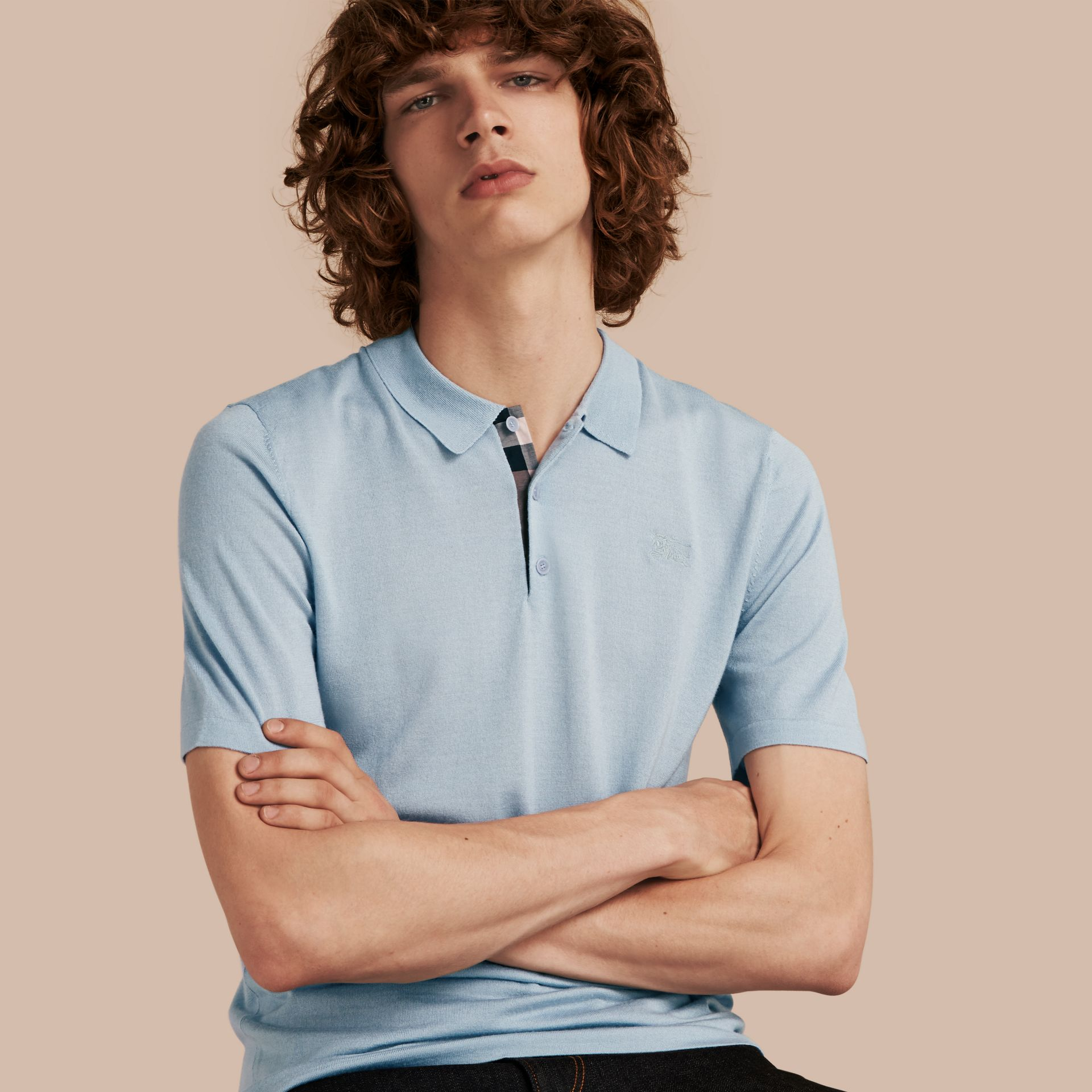 Pale sky blue Check Placket Wool and Silk Blend Polo Shirt Pale Sky Blue - gallery image 1