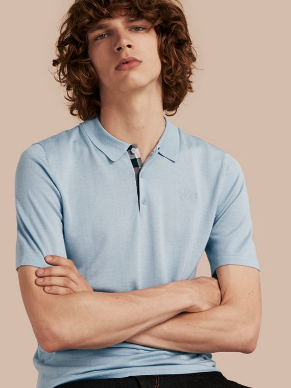 Check Placket Wool and Silk Blend Polo Shirt Pale Sky Blue