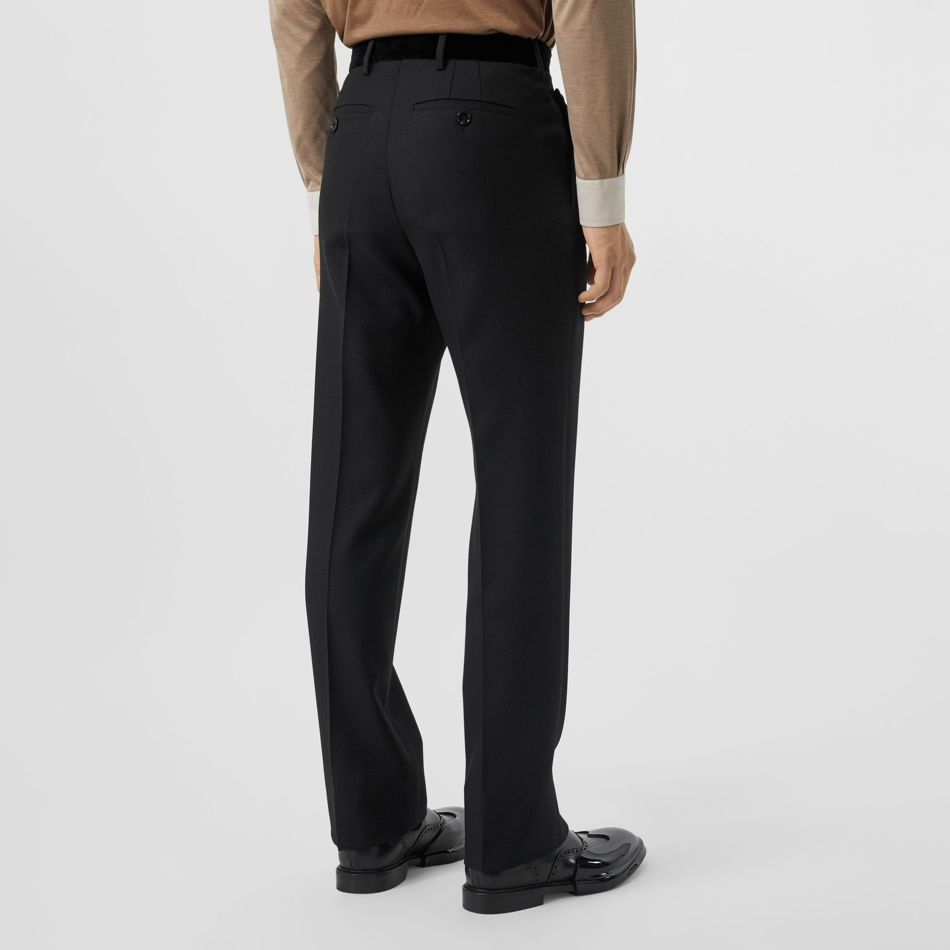 Velvet Trim Wool Tailored Trousers in Black - Men | Burberry United States - gallery image 2