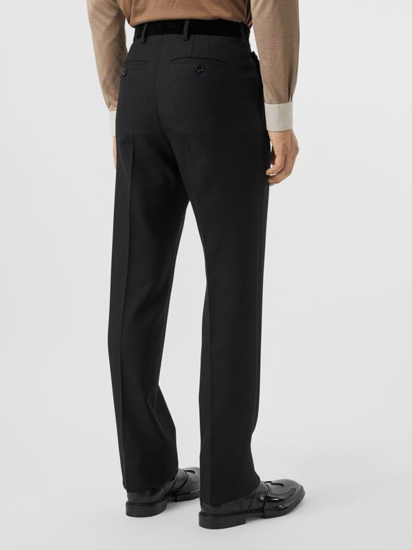 Velvet Trim Wool Tailored Trousers in Black - Men | Burberry United States - cell image 2