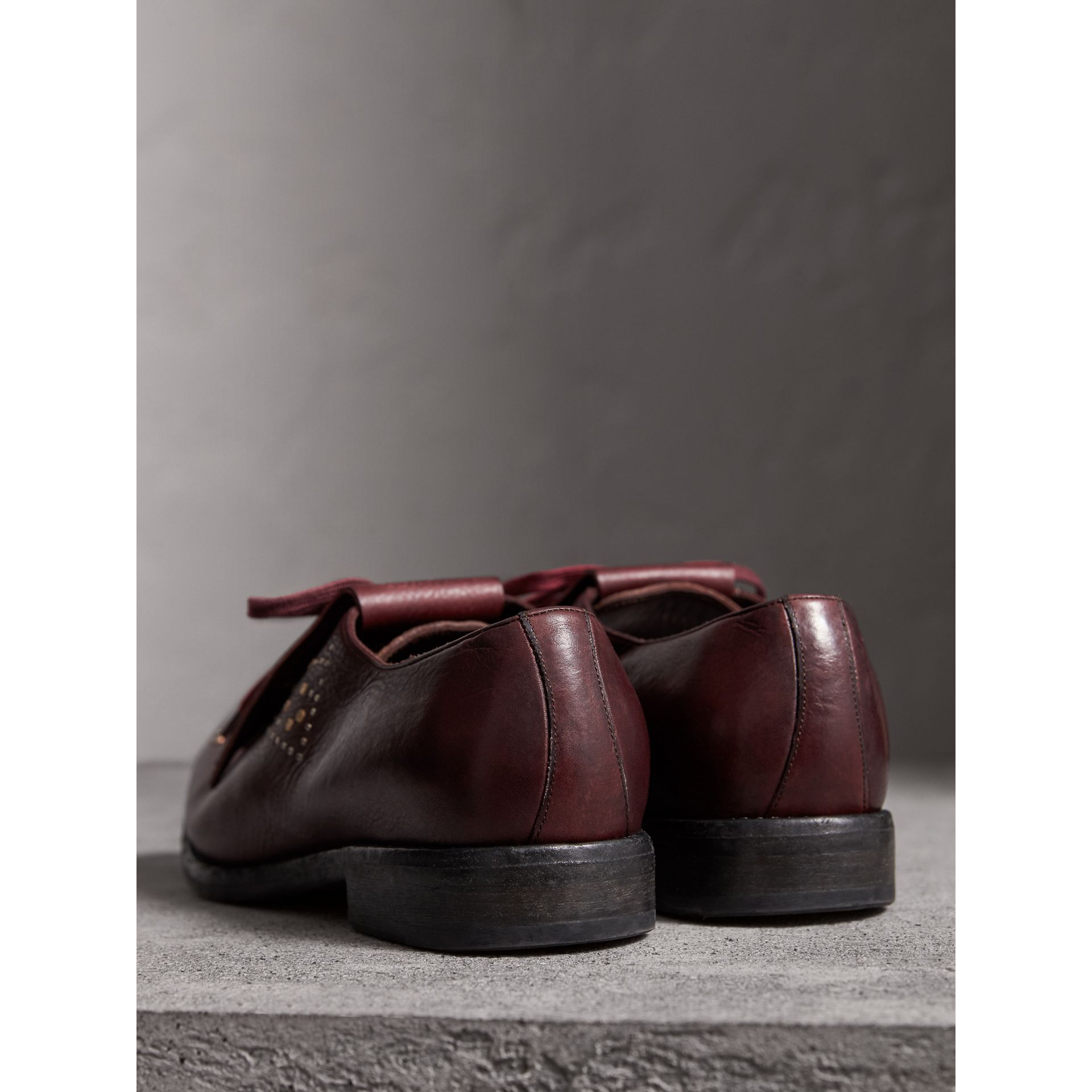 Lace-up Kiltie Fringe Riveted Leather Loafers in Cerise Purple - Men | Burberry - gallery image 3