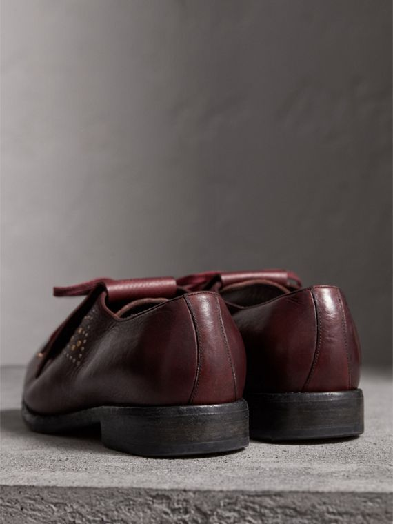 Lace-up Kiltie Fringe Riveted Leather Loafers in Cerise Purple - Men | Burberry United Kingdom - cell image 3