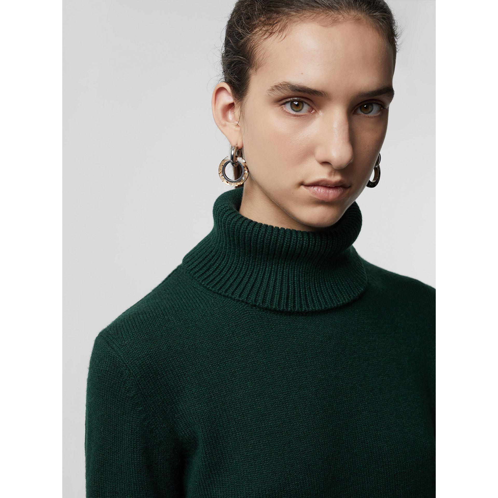 Embroidered Crest Cashmere Roll-neck Sweater in Dark Cedar Green - Women | Burberry - gallery image 1