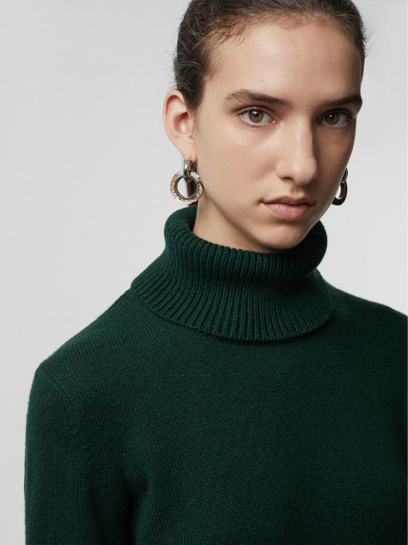 Embroidered Crest Cashmere Roll-neck Sweater in Dark Cedar Green - Women | Burberry - cell image 1