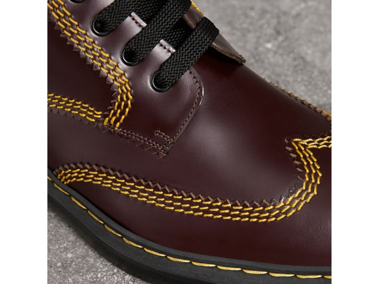 Topstitched Leather Derby Boots in Bordeaux - Men | Burberry - cell image 1