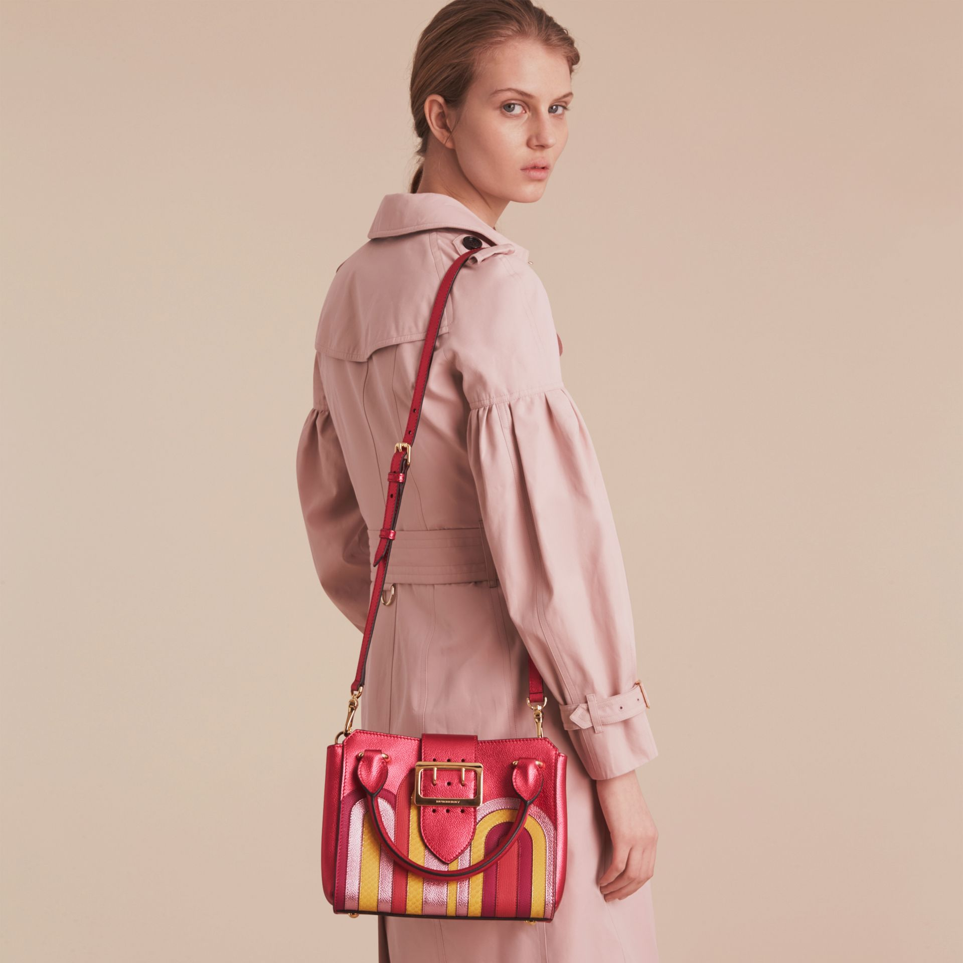 The Small Buckle Tote in Metallic Leather with Snakeskin Appliqué - gallery image 3