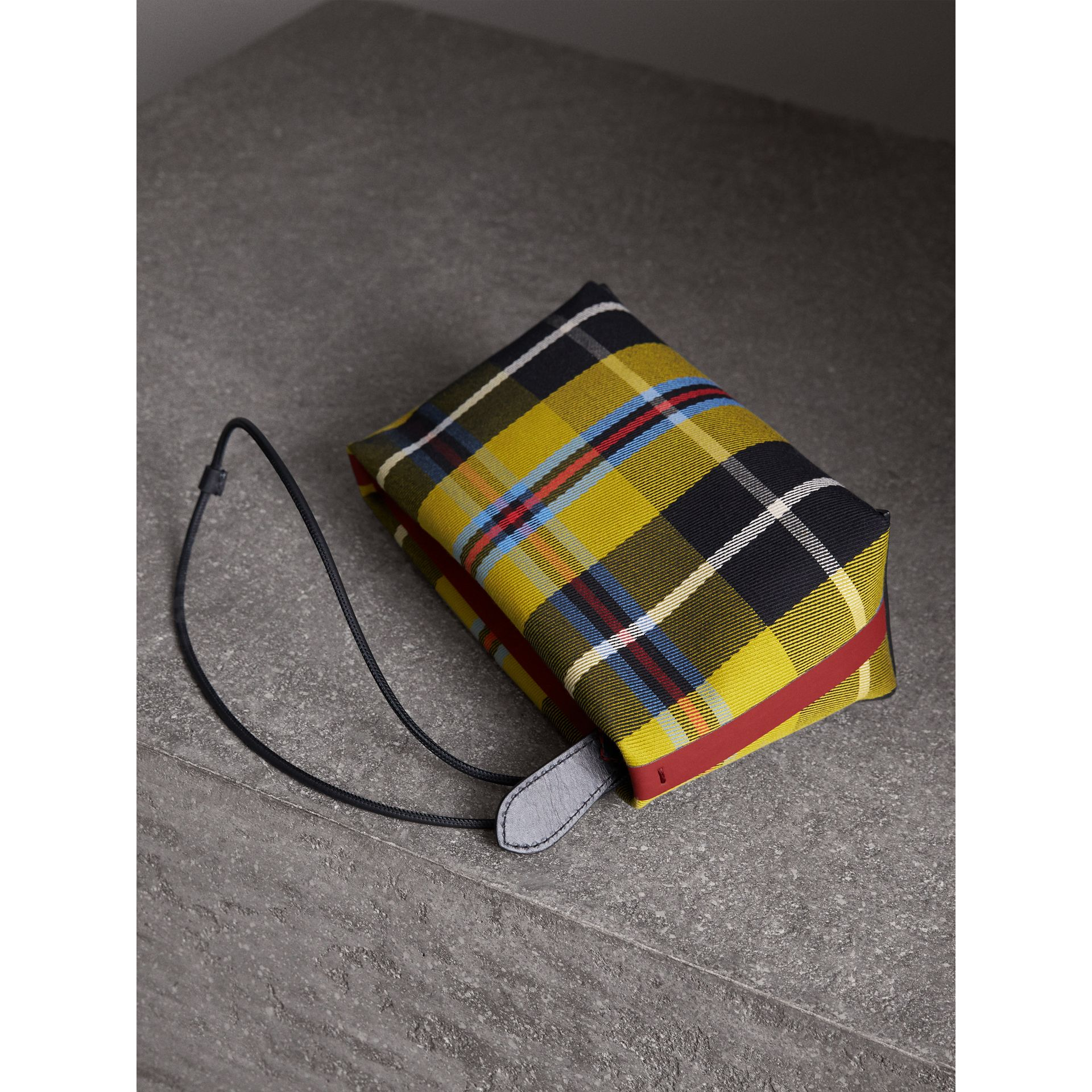 Tartan Cotton Clutch in Flax Yellow/caramel | Burberry United States - gallery image 5