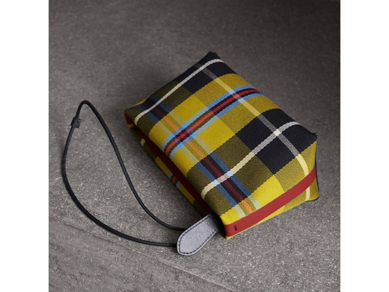 Tartan Cotton Clutch in Flax Yellow/caramel | Burberry Australia - cell image 4