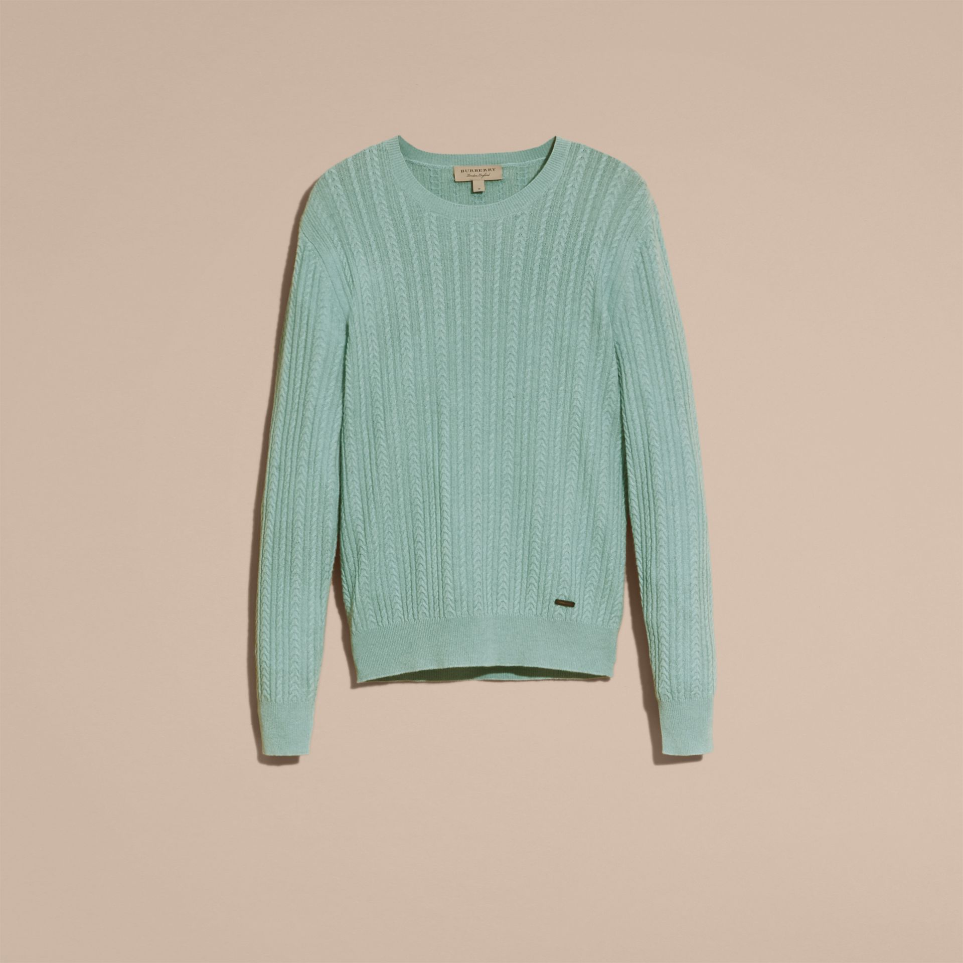 Pale peridot blue Aran Knit Cashmere Sweater Pale Peridot Blue - gallery image 4