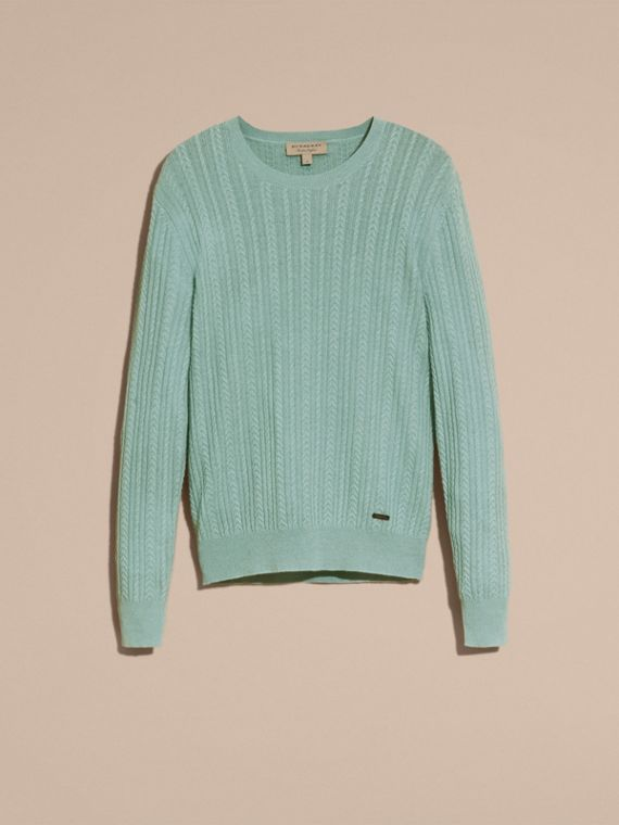 Pale peridot blue Aran Knit Cashmere Sweater Pale Peridot Blue - cell image 3