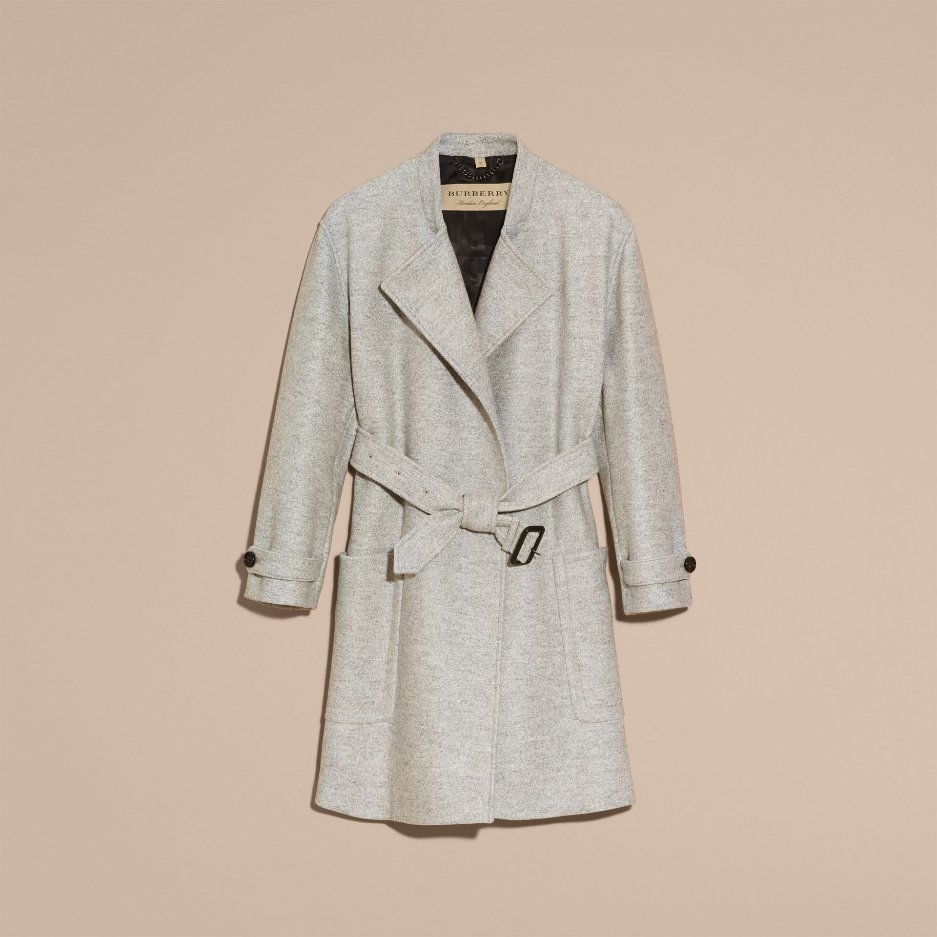 Pale grey melange Wool Belted Wrap Coat - gallery image 4