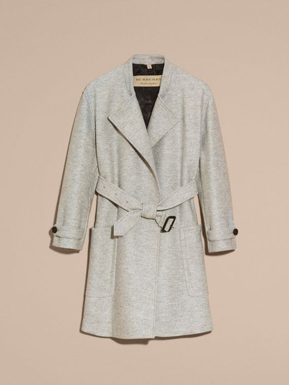 Pale grey melange Wool Belted Wrap Coat - cell image 3