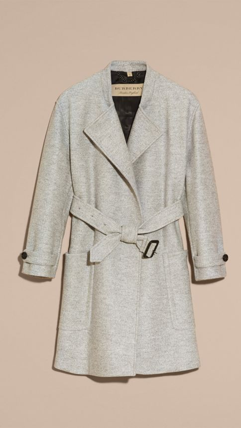 Pale grey melange Wool Belted Wrap Coat - Image 6