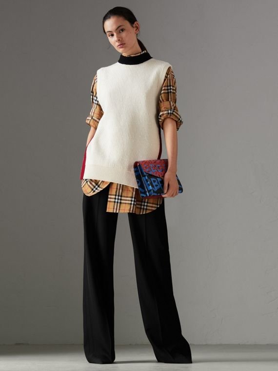 Pantaloni a vita alta in lana (Nero)