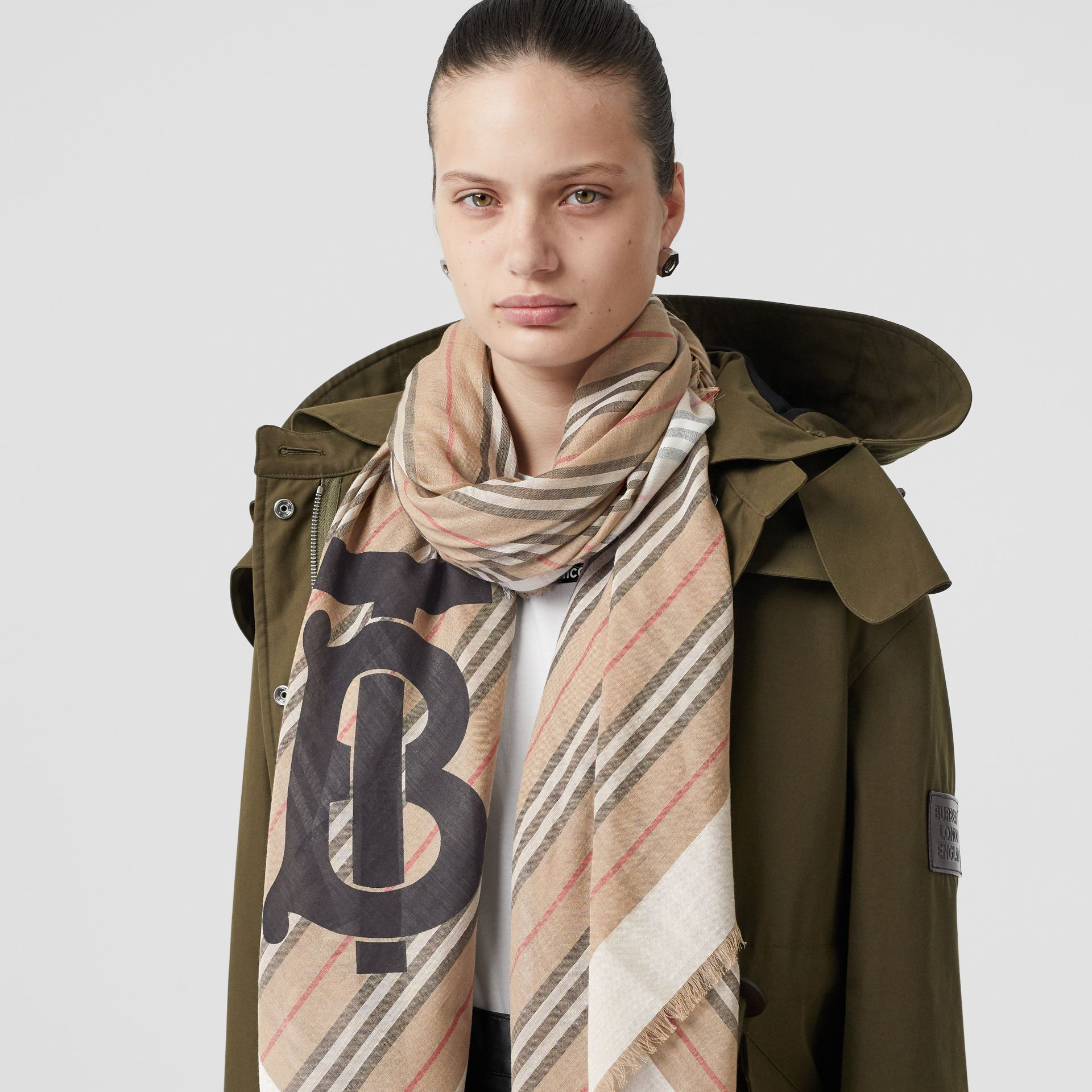 Monogram Icon Stripe Wool Silk Large Square Scarf in Archive Beige | Burberry Singapore - gallery image 2