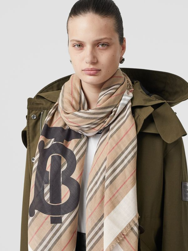 Monogram Icon Stripe Wool Silk Large Square Scarf in Archive Beige | Burberry Singapore - cell image 2