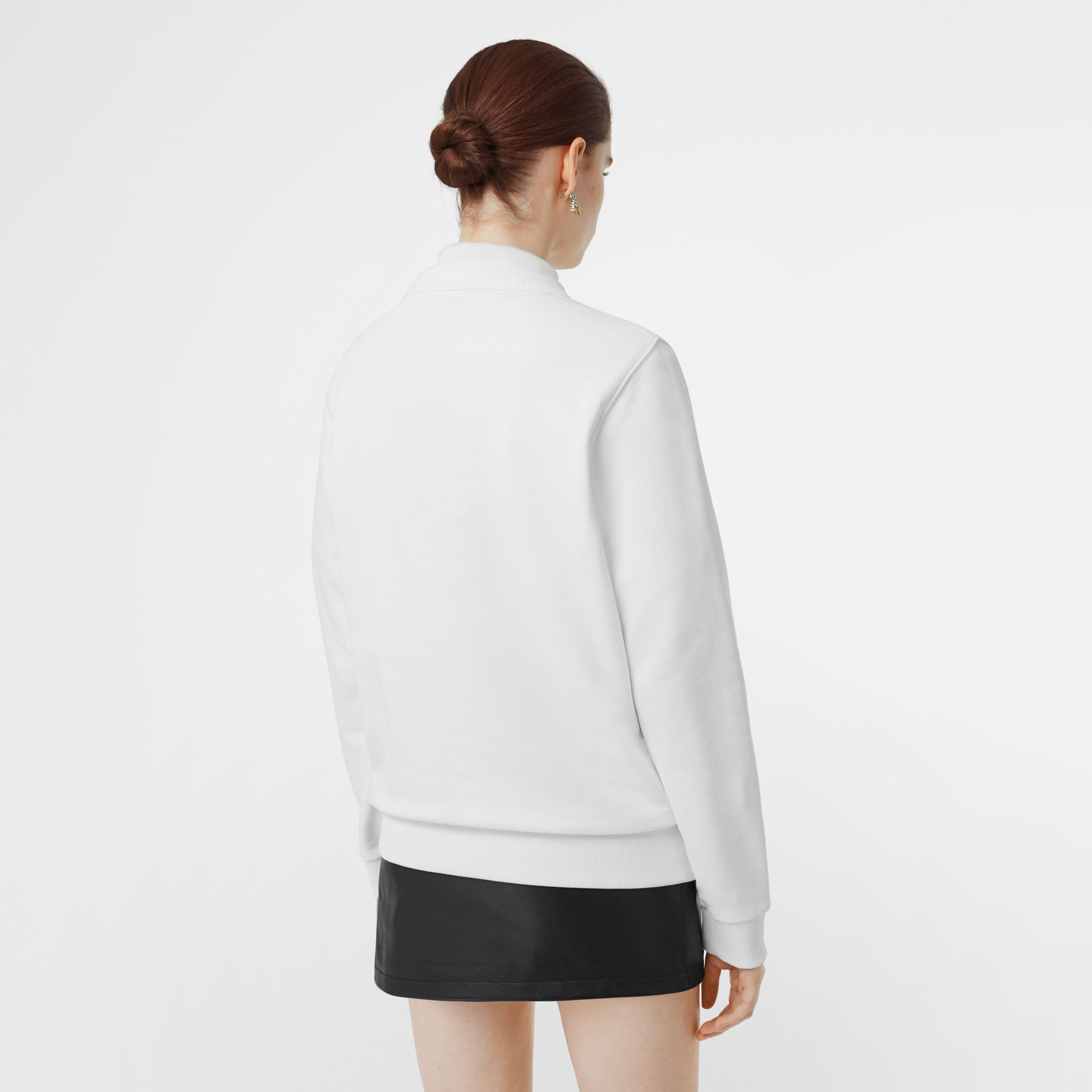 Logo Print Cotton Sweatshirt in White - Women | Burberry - 3