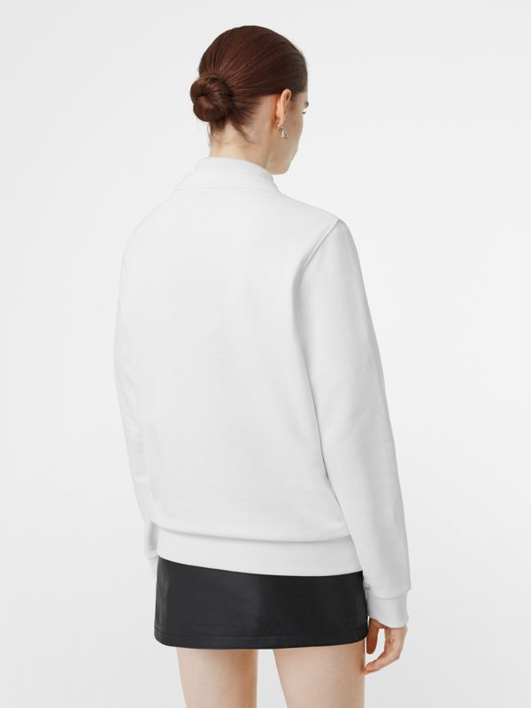 Logo Print Cotton Sweatshirt in White - Women | Burberry Australia - cell image 2